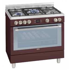 Defy 5 Burner Stainless Steel Gas/Electric Stove - Red