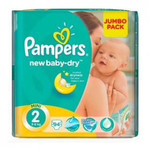 Pampers New Baby Mini 2 Jumbo Pack 94S 3-6Kg (Pack of 2)