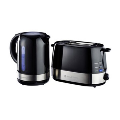 Russell Hobbs Breakfast Pack - Gloss Black - 2 Slice Toaster, 1.7 L Kettle