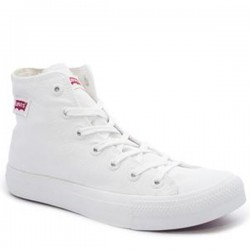 Ladies Levis Dunk Pitch Hi Nylon Sneakers - White Mono