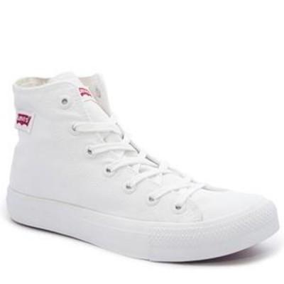 Ladies Levis Dunk Pitch Hi Nylon Sneakers - White Mono
