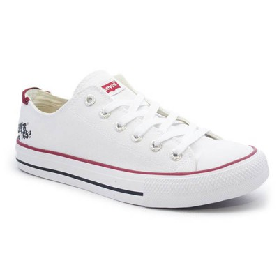 Mens Levis Dunk Pitch Lo Canvas Sneakers - White